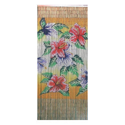 "Bamboo54 - Bamboo Tropical Flowers Scene - Bamboo54 tropical flowers scene is made from authentic bamboo and hand strung. One curtain contains 90 strands across and is the perfect door hanging accessory. Hand painted on both sides. Measures approximately 36"" x 80"""