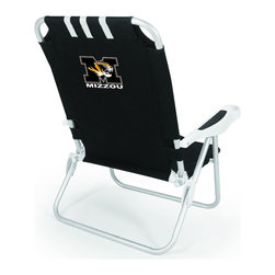 "Picnic Time - University of Missouri Monaco Beach Chair Black - The Monaco Beach Chair is the lightweight, portable chair that provides comfortable seating on the go. It features a 34"" reclining seat back with a 19.5"" seat, and sits 11"" off the ground. Made of durable polyester on an aluminum frame, the Monaco Beach Chair features six chair back positions and an integrated cup holder in the armrest. Convenient backpack straps free your hands so you can carry other items to your destination. Rest and relaxation come easy in the Monaco Beach Chair!; College Name: University of Missouri; Mascot: Tigers/Mizzou; Decoration: Digital Print"