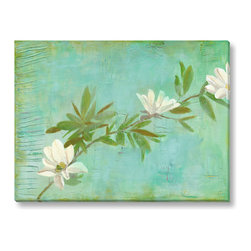 Gallery Direct - Laura Gunn's 'Magnolias on Turquoise' Canvas Gallery Wrap, 24x18 - Laura Gunn's paintings reflect the tension between traditional and contemporary, natural and synthetic, growth and decay. The foundation of each painting reflects the beauty of deterioration, inspired by such things as rotting plaster or rusting metal. Over this she lays a living botanical, creating contrast and balance. Painting flowers is a wonderful vehicle for experimenting with color, texture, and form. Gunn plays with color and shape to create the composition she desires. Every painting involves experimentation and discovery, and each is an enlivening experience for her. Through her paintings, Laura Gunn hopes to share these experiences with you.