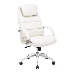 ZUO - Lider Comfort Office Chair - White - Deceptively simple, the Lider Comfort Office Chair sports a curved seat and headrest wrapped in leatherette and resting on a chrome base. Adjustable height and tilt. Comes in black, white or gray.