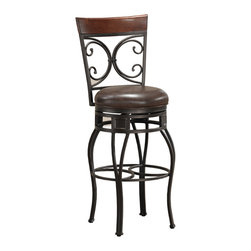 Treviso Stool - Richly finished, gracefully curved and oh so pretty, this shapely stool is a thing of beauty. With charming scroll accents and a luxurious leather seat, it's an elegant spot for you to sit a spell.