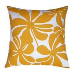 5 Surry Lane - Modern Yellow Floral Indoor Outdoor Pillow - Toss it on a lounge chair on your deck, or throw it on your living room couch; this summery floral pillow evokes an island feel. It comes in blue or yellow and white with in easy-to-wash polyester with a down-feather insert.
