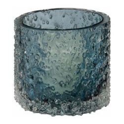 "Lazy Susan - Lazy Susan Winter Salt Rock Votive - Final Sale - The Winter Rock Salt votive by Lazy Susan is a sweet and sassy accent to modern decor. Clear glass chips wrap the surface of this ice blue votive, providing contemporary texture with a 70s vibe. 3.5"" Dia. x 3""H; Hand-finished glass; Votive candle recommended (not included)"