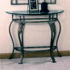 Hillsdale - Hillsdale Bordeaux Console Table in Bronze Pewter - Hillsdale - Console Tables - 40544OC - The Hillsdale Bordeaux Console Table with glass top adds a luxurious gothique sensibility to your home. This high-class collection features solid steel construction treated with a lustrous pewter and bronze highlighted powder finish. Flowing in hypnotic curves and scrolls and leaf flourishes in the intricate scroll work make for a look of unreal elegance. The Hillsdale Bordeaux Console Table makes for an interesting and unique classic accent to your living area.