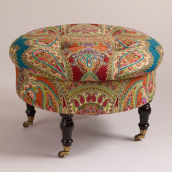 Lucille Ottoman - I love the colors and print of this well-priced ottoman. It goes along with the Matisse look of exotic, layered textiles.