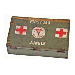 "Vintage Medical Furniture & Accessories - Original c. 1940's united states medical department ""jungle"" first aid painted wood box with compartmentalized interior. UR-12474-12"