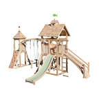 """CedarWorks - CedarWorks Serendipity 2 Swingset - Looking for a playset that serves up all the fun your kids could want, and has all the aesthetics to complement your home? The Serendipity 2 playset provides it all. Post and beam construction, classic """"cottage style"""" shingle roof and laminated arches will stand comfortably next to all your other family investments and provide your children with a source of great fun. Assembly is required."""
