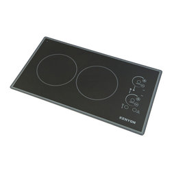"Kenyon - Lite Touch Q Cortez 2 Burner, 120V UL - Modernize any kitchen and compliment high end appliances with our Lite-Touch Q® Cortez Series Cooktop. Steel colored graphics provide a sleek and polished look. Precision and simplicity are at the tip of your fingers. Just touch the digital ON/OFF circle to activate the heating elements and set the cooking temperature. Landscape orientation. (2) 1200 W 6.5"" burners. UL approved."