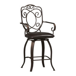 """Linon Home Decor - Linon Home Decor Crested Back Counter Stool 24 X-U-DK-10-LTM68720 - The elegance and unique style of this 24"""" Crested Back Counter Stool will carry throughout your kitchen, dining, or home pub area.  Crafted of metal and highlighted with subtle curves, a distinctive back, and comfortable arm rests, this stool is a positively striking addition to your home.  The cushion is piled high for extra comfort and covered in a wipe clean brown vinyl which is resistant to everyday wear and tear making this stool versatile for any gathering area.  275 pound weight limit."""