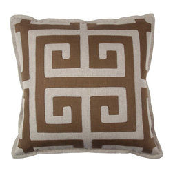 "Greek Key Square Throw Pillow - Magnolia Lane designer pillow collection offers hand sewn works for art.s Only 8 will be available this Hand stitched with thin brown 100% Cotton Thread. The hand stitched 5/8"" hemp twine flange gives this pillow a soft edge with a zipper closure. Size: 20"" x 20""(including flange) the body is made of 100% Natural Linen (New) and the design us 100% recycled linen. The pillow form is a 25/75 down feather, extra full fill. To Care for this pillow please dry clean only. Please note that color between monitors and printers can vary greatly. A sample of the design fabric can be sent on a limited basis. Pillows are made to order and will ship in 4-5 weeks."