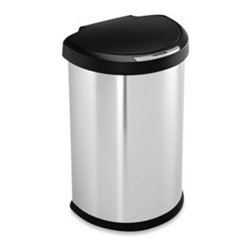 Simplehuman - simplehuman 45-Liter Semi-Round Stainless Steel Sensor Trash Can - This innovative trash can uses Multi-Sense? technology to make throwing out your trash effortless and hygienic by reacting and adapting to your behavior.