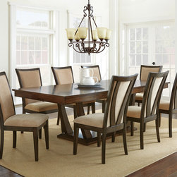 Steve Silver Furniture - Steve Silver Gabrielle 9 Piece Dining Room Set in Medium Walnut - The elegant modern style of the Gabrielle table is designed for people who want something a little bit different. Constructed of hardwood solids and walnut veneers  the dining table top with two 16 leaves combines with the shaped pedestal base for size versatility that seats up to eight comfortably.