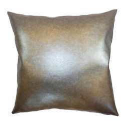 """The Pillow Collection - Kamden Plain Pillow Metallic 18"""" x 18"""" - This throw pillow will surely add a futuristic twist to your home. Mix and match this accent pillow with contemporary pillows to tone it down. This square pillow is perfect for your living room, bedroom or kitchen. This metallic pillow is ideal for special events like parties. The 18"""" pillow adds a bold twist and contemporary flair to your space. Made from 100% vinyl fabric. Hidden zipper closure for easy cover removal.  Knife edge finish on all four sides.  Reversible pillow with the same fabric on the back side.  Spot cleaning suggested."""