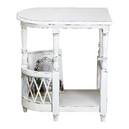 "Distressed White Wood Magazine Side Table - Distressed White Wood Magazine Side Table with Curved End and Iron Lattice Accent Hand constructed of wood. Hand-finished in a multi-step process 20.5"" wide/12.5"" deep/25"" tall Weight: 16 pounds 6 ounces."