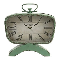 "IMAX - Retro Clock - In a classic retro pistachio finish, this vintage clock features an aged finish and classic mid-century shape. Item Dimensions: (14.5""h x 13.25""w x 2.5"")"