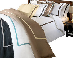Bed Linens - Hotel Collections 300 Thread Count Cotton Duvet Cover Set King/Cal-King White/Bl - 300 Thread Count Solid Duvet Cover SetsHotel Collection