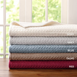 Madison Park - Madison Park Cable Braided Mink Throw - This ultra soft and cozy throw is made from luxurious mink fabric that is braided to provide dimension and texture. It is lined and filled to provide extra warmth. The reverse is made from a solid micro berber soft fabric. This throw will add style to any room. It comes in tan, brown, ivory, blue and red. face: 100% polyester solid lux micro fur, 180gsm; lining: poly/spandex fabric; back: 100% poly micro berber, 200gsm; filling: 100% polyfill, 60gsm