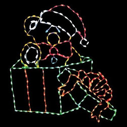 48 in. LED Bear in Gift Box Lighted Display - 264 Bulbs - Friends, family, and neighbors will love this 48 in. LED Bear in Gift Box Lighted Display - 264 Bulbs. An adorable way to wish everyone a Merry Christmas, this lighted display features a cute teddy bear wearing Santa's cap and popping out of a festive gift box. Teddy in his gift box stand 48 inches tall and is shaped by a sturdy powder-coated steel frame. He comes pre-lit with 264 commercial-quality, multi-colored LED bulbs. This teddy bear Christmas yard display is easy to install and includes replacement bulbs and clips. About Brite IdeasEstablished in Omaha, Neb., in 1990, Brite Ideas Decorating, Inc., has become a holiday lighting industry leader, providing customers across the United States with durable, cutting edge lighting displays for both residential and commercial applications.Featuring a full line of innovative LED products and uniquely designed displays, Brite Ideas appeals to tradition, modern, simple, and even ornate tastes. It is their mission to promote excellence in the holiday lighting industry. With that in mind, Brite Ideas products go above and beyond the standard to create the best holiday atmosphere for you.