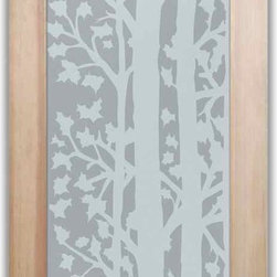 """Bathroom Doors - Interior Glass Doors Frosted - Forest Trees - CUSTOMIZE YOUR INTERIOR GLASS DOOR!  Interior glass doors or glass door inserts.  .Block the view, but brighten the look with a beautiful interior glass door featuring a custom frosted privacy glass design by Sans Soucie! Suitable for bathroom or bedroom doors, there are no clear areas on this glass.  All surface areas are etched/frosted to be 100% opaque.  Note that anything pressed up against the glass is visible, and shapes and shadows can be seen within approx. 5-12"""" of the glass.  Anything 5-12"""" from the glass surface will become obscured.  Beyond that distance, only lights and shadows will be discernible. Doors ship for just $99 to most states, $159 to some East coast regions, custom packed and fully insured with a 1-4 day transit time.  Available any size, as interior door glass insert only or pre-installed in an interior door frame, with 8 wood types available.  ETA will vary 3-8 weeks depending on glass & door type........  Select from dozens of sandblast etched obscure glass designs!  Sans Soucie creates their interior glass door designs thru sandblasting the glass in different ways which create not only different levels of privacy, but different levels in price.  Bathroom doors, laundry room doors and glass pantry doors with frosted glass designs by Sans Soucie become the conversation piece of any room.   Choose from the highest quality and largest selection of frosted decorative glass interior doors available anywhere!   The """"same design, done different"""" - with no limit to design, there's something for every decor, regardless of style.  Inside our fun, easy to use online Glass and Door Designer at sanssoucie.com, you'll get instant pricing on everything as YOU customize your door and the glass, just the way YOU want it, to compliment and coordinate with your decor.   When you're all finished designing, you can place your order right there online!  Glass and doors ship worldwide, custom packed"""