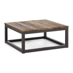 Civic Center Square Coffee Table - Long and thick elm wood planks are fused together on top an antiqued metal base. Add an industrial touch to your living space. Some assembly is required - Metal, Fir Wood. W32.3 x D32.3 x H14.6