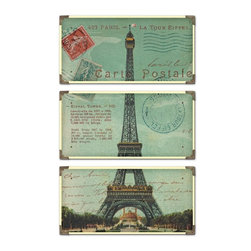 """Uttermost - Uttermost Eiffel Tower Carte Postale Traditional Architectural Framed Wall Art - The prints are laminated to wood boards. Each board has antique brass corner accents and decorative screws. Each panel is 12"""" x 23"""" ."""