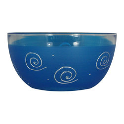 "Frosted Curl Dark Blue  6"" Bowl - This lovely hand painted 6"" bowl is one of our top sellers.  It is dark blue with accent colors and adorned with curls and dots.  Perfect for any season or occasion. It also works perfectly as a dessert dish.  Something to be handed down from generation to generation.  Proudly hand painted in the USA."