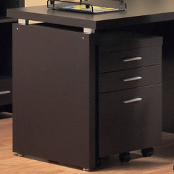 Monarch - Hollow-Core 3 Drawer File Cabinet On Castors - Cappuccino - This cappuccino hollow-core three drawer file cabinet keeps your desk supplies organized, with two medium storage drawers and a convenient lateral file drawer below. Contemporary silver handles boldly accent each drawer front for a look you will love, while casters provide easy mobility.