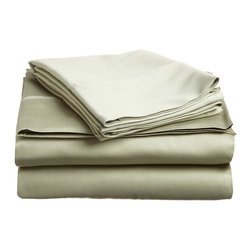 400 Thread Count Egyptian Cotton Twin XL Sage Solid Sheet Set - 400 Thread Count Egyptian Cotton Twin XL Sage Solid Sheet Set