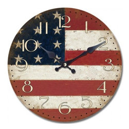 YOSEMITE HOME DECOR - 14 in. Circular Wooden Wall Clock with American flag print - Stars and stripes forever. Bring out your patriotic side and hang this rustic wall clock in your den or kitchen. Painted on a wooden panel, the black hands and traditional white numbers will make a nice accent in your all-American home.