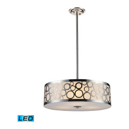 "Elk Lighting - Retrovia LED 3-Light Chandelier in Polished Nickel - During the 1950s, there was a renewed sense of style and design from consumer products to fashion and beyond. This design movement coined the term ""mid-century modern"" which became a leading design movement. Finished in polished nickel, this collection embodies the excitement of the time period with laser cut circles, opal etched cylindrical glass, and a white diffuser that accents the drum and vanity fixtures. - LED, 800 lumens (2400 lumens total) with full scale dimming range, 60 watt (180 watt total)equivalent, 120V replaceable LED bulb included."
