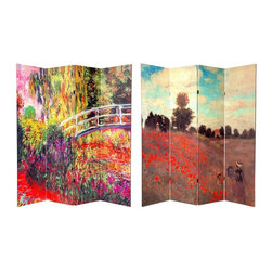 """Oriental Furniture - 6 ft. Tall Double Sided Works of Monet Canvas Room Divider 4 Panel - A richly colorful floor screen, with interestingly cropped, magnified sections of two classic paintings by Monet, """"Water Lilies"""" on one side and """"Coquelicots"""" or """"Poppies"""" on the other. These warm, attractive images are printed onto portable, durable, 4 panel canvas room dividers."""