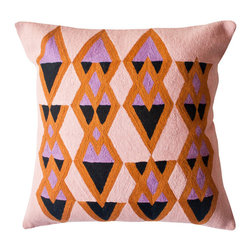 Ira Kite Pillow - Hand-embroidered by women artisans in north India, these geometric pillows in a warm color palette are perfect as Fall accents.
