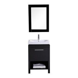 "Design Element - Design Element New York 24"" Espresso Modern Single Sink Vanity Set - Being limited in space doesn't mean having to give up quality or style - it simply means making better use of what's available. The New York 24"" vanity set is a good example of small-space thinking at work. With cabinet legs pushed outwards to be positioned vertically flush with the countertop, we've managed to squeeze out every last cubic inch of storage volume for the cabinet base itself. And with the space available, we've put in an open shelf at the bottom and a large cabinet with soft-closing door for all of your basic storage needs. The drop-in sink also features reasonable countertop space for toiletries.And all of this, of course, is done in the typical standard of Design Element products, which means solid hardwood construction for the entirety of the base, a porcelain countertop and integrated sink, water-resistant lacquer finish, included mirror and drain, and a pre-built cabinet base."