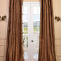 EFF - Signature Mocha Textured Silk 108-inch Curtain Panel - Add a touch of charm and elegance to your home with this gorgeous silk mocha 108-inch curtain panel. With its long sweeping design and length,this curtain panel is a luxurious addition to any room. This curtain panel is made of 100 percent silk.
