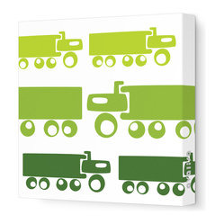 "Things That Go - Trucks Stretched Wall Art, 12"" x 12"", Green Hue"