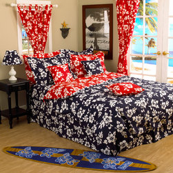Tropical Hawaiian Hibiscus Bedding - Fun Hawaiian hibiscus themed room, features a reversible red and navy hibiscus comforter, with matching decorative throw pillows. Hawaiian curtains hang by the open beach entrance to ensure a feel of old Hawaii. Picture by designer Dean Miller