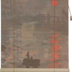 Oriental Furniture - Impression Sunrise Bamboo Blinds - 60 Inch, Width - 60 Inches - - These stunning bamboo matchstick blinds feature an image of Claude Monet's  Impression, Sunrise, c.1893  painting.  Available in five convenient sizes.   Easy to hang and operate.  Available in five sizes, 24W, 36W, 48W, 60W and 72W.  All sizes measure 72 long. Oriental Furniture - WTCL09-0508-60