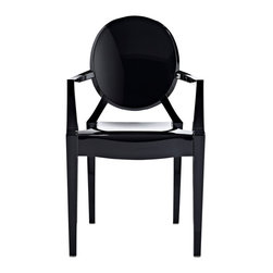IFN Modern - Ghost Style Armchair-Black - Philippe Starck, the French product designer was born in Paris in 1949. With regards Furniture, he is famous for his designs that are made from polycarbonate plastic. Unlike most other New Design artists, Starcks work does not concentrate on creating provocative and expensive single pieces. His products and furnishings are often stylized, streamlined and organic in their look and are also constructed using unusual combination of materials. The Signature Ghost Chair presents a unique mix of creativity and sturdiness. The chairs are durable, can be stacked and are great for both outdoor and indoor use. The Ghost Chair almost disappears into the background as if to faintly impose its distinguishing design element into the room.