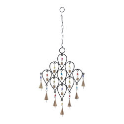 Bell Wind Chime with Unique Pattern Design - Bring peace and harmony to your home by adoring this wonderful wind chime. Distinctively designed with elegant features, this metal bell wind chime is sure to adorn your home with grandeur. It is especially designed in a unique pattern of nine inverted pear shapes, which are attached together. The colorful beads that attach the bell to the metal frame enhance the beauty of the wind chime. It produces a light, tinkling sound that creates a scintillating musical effect. It can be hanged inside your home in the entranceway of your hall, living room, or in the outdoor living space like your patio or porch. This metallic wind chime is sure to add a charming ambience to its surroundings with its exclusive design. It adds a great style to your existing decor.. It comes with a dimension: