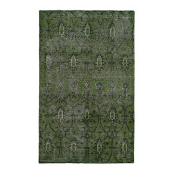 Kaleen - Contemporary Restoration 2'x3' Rectangle Green Area Rug - The Restoration area rug Collection offers an affordable assortment of Contemporary stylings. Restoration features a blend of natural Green color. Hand Knotted of 100% Wool the Restoration Collection is an intriguing compliment to any decor.