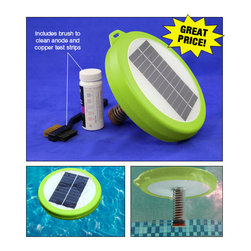"Blue Wave - Blue Wave Eko Klor Solar Ionizer - Prevents algae and reduces chlorine use; best price on the market! Cut your chlorine use by up to 80% by combining the power of the sun with an underwater sacrificial anode. Solar energy strikes the top-mounted solar cells and activates the anode to dispense the minerals that kill algae. Unlike competitive units, the Eko Klor won't over-ionize the water. You can leave it in your pool for extended periods with weekly water testing and anode cleaning. Non-toxic, safe to use; simply float in your pool for proven algae control; includes brush to clean anode and 25 copper test strips; recommended for pools up to 25,000 gallons; for use when copper levels are between 0.2 and 0.4 ppm; no need to use an algaecide in your pool again; small 8"" diameter won't obstruct swimming; 1 year warranty"