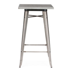 Zuo Modern - Olympia Bar Table - This table has a solid steel frame and top in a polished galvanized steel finish.