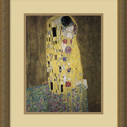 "Amanti Art - The Kiss (Le Baiser / Il Baccio), 1907 Framed Print by Gustav Klimt - If you're a romantic at heart, owning a print of iconic painting by Gustav Klimt's, is practically a requirement. Painted during Klimt's ""Golden Period,"" using oil paint and layers of gold leaf, this piece will complement your decor, whether it's modern or classic. Custom-framed and matted by designers, this artwork comes with a hanging wire for easy installation. Made in the USA."