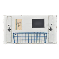 "Enchante Accessories Inc - Wall Organizer with Picture Frame, Chalkboard, Metal Basket & Coat Hooks (Ivory) - Wood wall organizer with picture frame, chalkboard, metal basket, and two coat hooksDistressed painted finish gives it a rustic, shabby chic lookPerfect for use in an entryway or mud roomCan be easily mounted to the wall in any roomMeasures 28"" x 6.5"" x 14.6""Add rustic charm and modern function to an entryway or mud room with this shabby chic wall organizer from the Home Office Collection. The Wall Organizer with Picture Frame, Chalkboard, Metal Basket & Coat Hooks is made from natural pine wood and features a painted finish with distressed and weathered edges that give it a shabby chic, rustic look and allow all of the imperfections and nicks of the wood to peek through. This wall organizer has a large rectangular shape and is detailed with a metal wire basket, a picture frame that can hold a 4"" x 6"" photo, two metal iron hooks, and a chalkboard surface on which you can write to-do lists, shopping lists, important reminders, or notes and messages for family members or friends.Hang this organizer on a wall in your mud room or entryway and use the basket as a convenient place to stash wallets, keys, sunglasses, mittens, or winter caps. Use the two double iron coat hooks to hang jackets and sweaters, hats, handbags, dog leashes, mittens, or other outdoor accessories that are best stored near the door. The small rectangular chalkboard provides a reusable surface on which to write reminders about medical appointments for the kids or vet appointments for your pets, welcome messages for guests, chore reminders for family members and roommates, or love notes for your significant other. In the photo frame, you can display your favorite family photo or a memory from your last fabulous vacation that you want to look at every time you come in or go out the door. The multiple storage solutions and varied features make this organizer a versatile accent that adds both style and function into any space. Choose from distressed black with a white basket and white hooks or a distressed ivory finish with a bright blue basket and dark metal hooks."