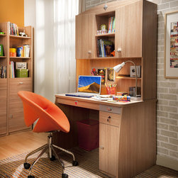 Modern Wood - Contemporary design meets industrial strength with this desk. Comes with wood finish and metal accents. Keep files safe with lock and key. Drawers slide for easy access.
