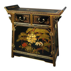 Oriental Furniture - Lacquer Altar Cabinet - Hand-crafted by a family of artisans in Guangdong, this elegant cabinet has been carefully built from Philippine mahogany, delicately painted with a crane and pine tree scene, and finished with a hand-rubbed matte lacquer. Boasting a unique, angled altar top as well as two wooden doors and two drawers outfitted with antique hardware, this authentic work of Chinese craftsmanship is a beautiful testament to an ancient tradition.