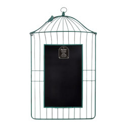 "Enchante Accessories Inc - Distressed Metal Bird Cage Wall Chalkboard 24"" x 43"" (Turquoise) - This Metal Bird Cage Chalkboard is a beautiful way to display your messages and memos Great for Kids Study Areas / Homework AreaA casual way to display your reminders and lists.Use clothes pins to secure your notes to the cage style metal frame.Measuring overall  24 in. wide x 43 in. high   Perfect for your family messages and memos, this whimsical display stand offers a birdcage design that you are sure to love. With its antique-inspired appeal, this piece will continue to enhance your space with casual elegance for years to come.    Constructed of metal for years of lasting beauty.    A rustic bronze finish completes the look. Product Details   19""H x 15.5""W x 2""D.    Metal/bamboo."