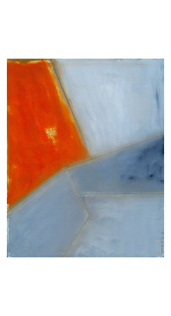 Orange And Gray, Original, Painting - 24x30 minimalist abstract in orange and blue tones