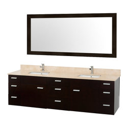 """Wyndham Collection - Encore Espresso with Ivory Marble Top with Porcelain Undermount Square Sink - Featured in the CG Collection by Christopher Grubb, the Encore 78"""" Double Bathroom Vanity combines clean modern design, natural solid marble, and the open spacious feeling of a wall-mount double vanity."""