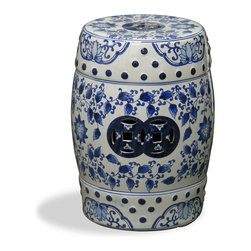 China Furniture and Arts - Blue & White Canton Porcelain Garden Stool - Elaborately hand painted in a traditional blue and white flower design, this porcelain stool offers sturdy seating in the bath and beyond, or serves as a handy platform next to a chair or chaise outdoors.